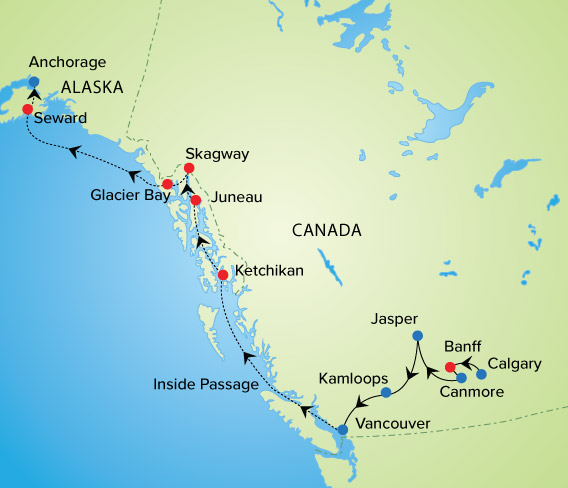 Alaska Cruise & Canadian Rockies | YMT Vacations on map of alaska and washington state, alaska interior, map of alaska railroad routes, kenai peninsula, bc ferries, british columbia coast, arctic alaska, transatlantic routes, alaska north slope, tanana valley, matanuska-susitna valley, seward peninsula, tongass national forest, maps of cruise ship routes, map of banff and calgary, map of glacier bay national park alaska, alaska marine highway, map of alaska airline routes, bush alaska, map of united states and alaska, southwest alaska, south central alaska, map of cruise destinations, map of alaska coastline, map of california routes, map of mediterranean cruise routes, map of iditarod trail alaska, map of alaska ferry routes, gulf of alaska, map of british columbia and alaska, map of alaskan cruises routes, map of alaska and its cities, inside passage alaska ferry routes, map of alaska highway route, map of vancouver and alaska, alaska panhandle,