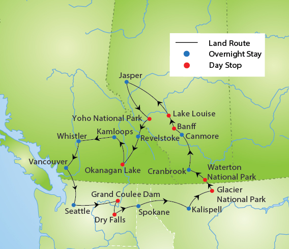 Map Of Canada Lake Louise.Canadian Rockies Tour Ymt Vacations