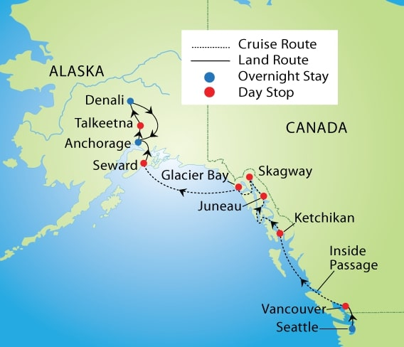 Grand Alaskan Cruise & Tour | YMT Vacations on map of alaska and washington state, alaska interior, map of alaska railroad routes, kenai peninsula, bc ferries, british columbia coast, arctic alaska, transatlantic routes, alaska north slope, tanana valley, matanuska-susitna valley, seward peninsula, tongass national forest, maps of cruise ship routes, map of banff and calgary, map of glacier bay national park alaska, alaska marine highway, map of alaska airline routes, bush alaska, map of united states and alaska, southwest alaska, south central alaska, map of cruise destinations, map of alaska coastline, map of california routes, map of mediterranean cruise routes, map of iditarod trail alaska, map of alaska ferry routes, gulf of alaska, map of british columbia and alaska, map of alaskan cruises routes, map of alaska and its cities, inside passage alaska ferry routes, map of alaska highway route, map of vancouver and alaska, alaska panhandle,