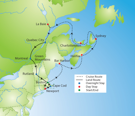 Map Of New England And Quebec.New England And Canadian Maritimes Cruise Tour Ymt Vacations