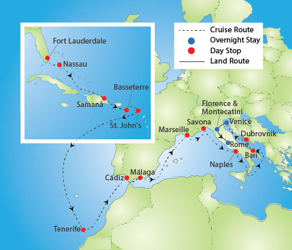 Caribbean & Mediterranean Cruise and Italy