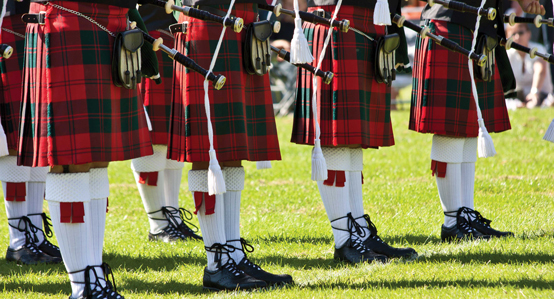 Line of Pipers in Kilts