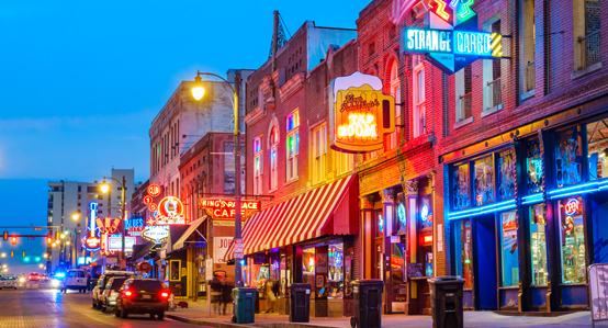 Beale Street Memphis at night