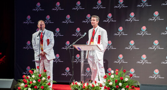 White Suiters during evening presentation